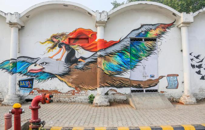 street-art-connaught-place-delhi-long-haired-girl-perches-flying-eagle-huge-graffiti-image-painted-wall-near-73015730